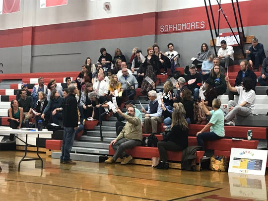 Sixty caucus-goers participate in the Nevada Democratic Caucuses in the gymnasium at Wooster High School in Reno, Nevada on Saturday, Feb. 22, 2020.