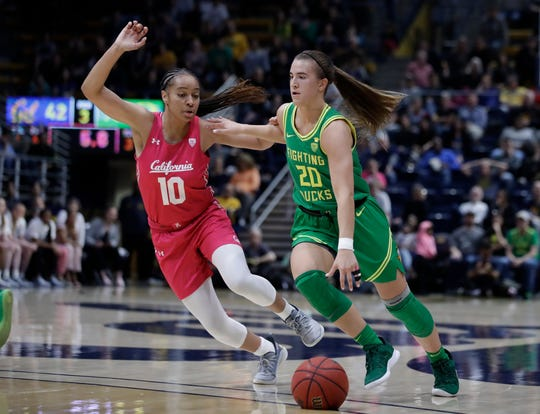 Oregon's Sabrina Ionescu, right, drives the ball against California's Jazlen Green (10) in the second half of an NCAA college basketball game Feb. 21, 2020, in Berkeley, Calif.