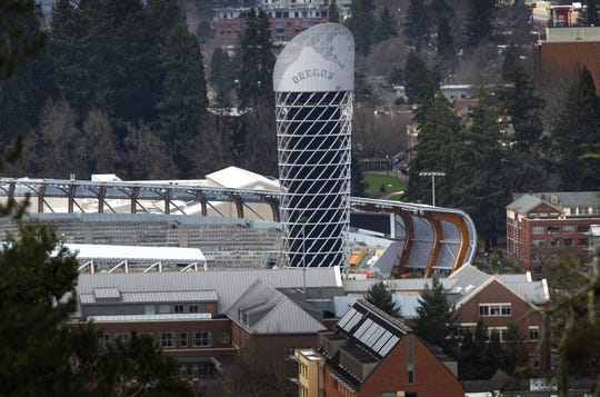 The Hayward Field Tower as seen from the hills to the east of the University of Oregon campus.