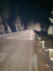Highway 22, which just reopened after a long closure, shows a new guardrail in place near the site of an accident that closed the roadway between Salem and Bend,