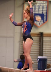 San Angelo Central High School's Madison Vogel competes on balance beam during a home gymnastics meet against Saginaw on Saturday, Feb. 22, 2020.