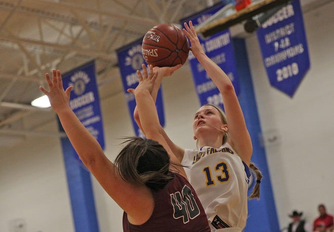 Bella Halfmann takes a shot for Veribest during a playoff game against Rankin on Friday, Feb. 21, 2020.