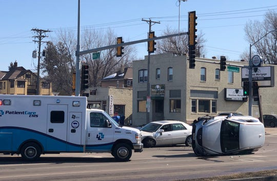 Officers responded to a rollover car crash at 18th Street and Minnesota Avenue around 1 p.m. on Saturday.