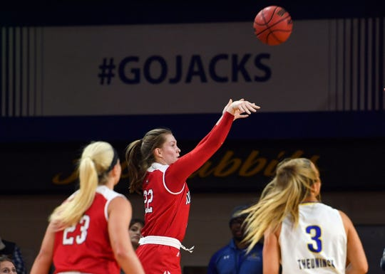 USD's Chloe Lamb makes a three-point shot during their game against SDSU on Saturday, Feb 22, at Frost Arena in Brookings.