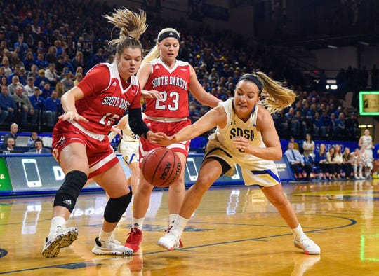 USD's Taylor Frederick and Madison McKeever and SDSU's Lindsey Theuninck chase after a loose ball during their game on Saturday, Feb 22, at Frost Arena in Brookings.