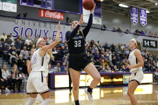 Augustana's Aislinn Duffy goes up for a shot in her team's 79-56 win over USF on Friday night at the Stewart Center.