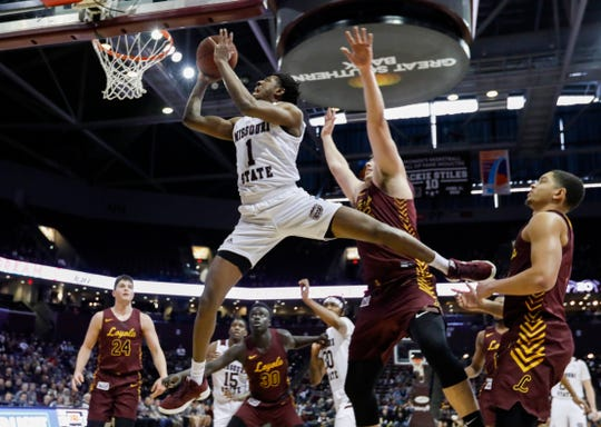 Keandre Cook, of Missouri State, goes up for the shot during the Bears game against Loyola at JQH Arena on Saturday, Feb. 22, 2020.