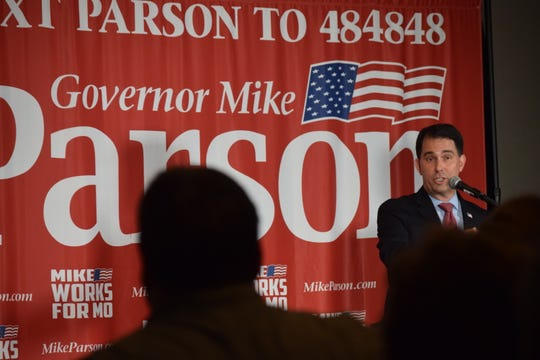 Former Wisconsin Gov. Scott Walker speaks to a crowd at a Lincoln Days reception for Missouri Gov. Mike Parson on Friday, Feb. 21, 2020 at University Plaza Hotel.