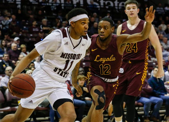 Isiaih Mosley, of Missouri State, drives to the net during the Bears' 74-62 win over Loyola at JQH Arena on Saturday, Feb. 22, 2020.