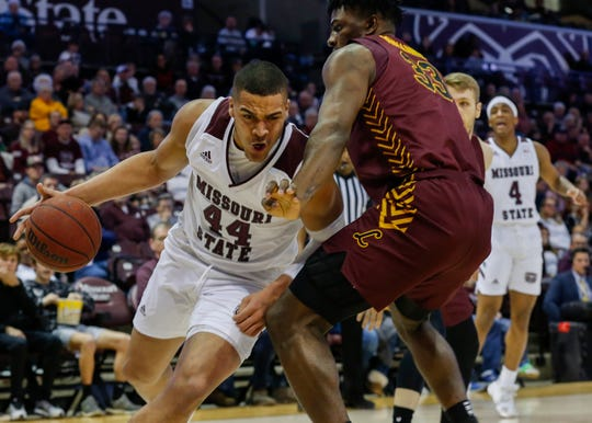 Gaige Prim, of Missouri State, drives to the net during the Bears game against Loyola at JQH Arena on Saturday, Feb. 22, 2020.