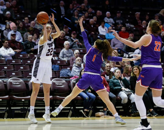 Missouri State Lady Bears guard Alexa Willard (22) shoots a three-pointer as the Bears take on the Evansville Purple Aces at JQH Arena on Friday, Feb. 21, 2020.