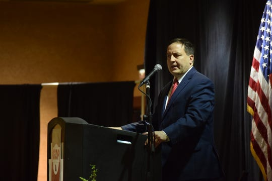 Missouri Secretary of State Jay Ashcroft speaks to a crowd at Lincoln Days on Friday, February 21, 2020, at University Plaza Hotel in Springfield. Ashcroft announced he's running for re-election Friday night.