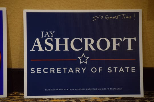 A campaign sign for Jay Ashcroft, who declared his run for re-election Friday night, sits in at hallway in the University Plaza Hotel in Springfield. Ashcroft announced a run for re-election to his office Friday night.