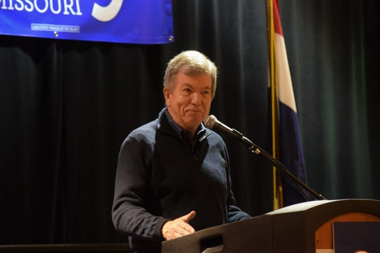 U.S. Sen. Roy Blunt pauses during a speech to a Pachyderms breakfast at the Missouri GOP's Lincoln Days on Saturday, Feb. 22, 2020 at University Plaza Hotel.