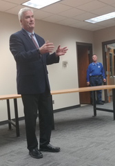 Congressman Tom Emmer speaks at a town hall at the Foley City Hall while Foley Mayor Gerard Bettendorf looks on Friday, Feb. 21, 2020.