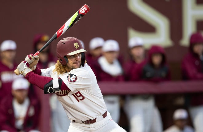 Florida State Seminoles outfielder Elijah Cabell (19) prepares to swing at the pitch. The Florida State Seminoles host the Cincinnati Bearcats for a three-game series beginning Friday, Feb. 21, 2020.