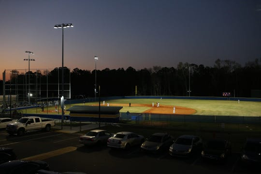 Rickards' new baseball stadium as the Raiders' baseball team walked off to beat Hamilton County 9-8 in their first on-campus baseball game, Feb. 21, 2020.