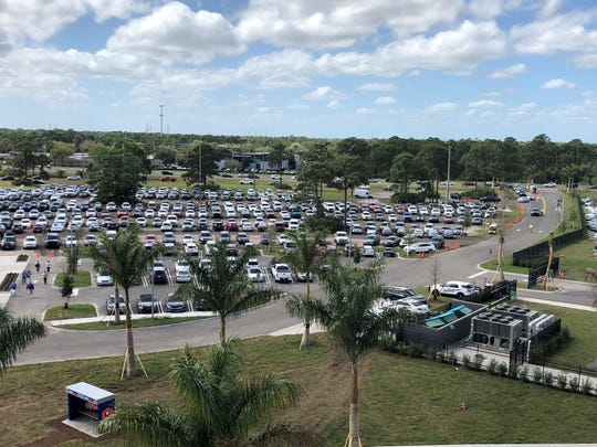 The parking lot view from Clover Park on February 22, 2020, when the New York Mets played their first game at the newly renovated spring training facility.