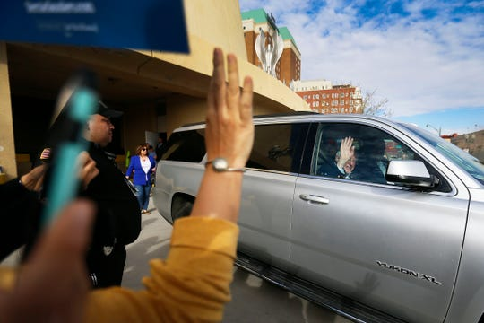 Democratic presidential candidate Bernie Sanders waves goodbye to supporters after the rally Saturday, Feb. 22, at the Abraham Chavez Theatre in El Paso.
