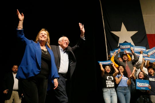 Democratic presidential candidate Bernie Sanders takes the stage at the  Abraham Chavez Theatre with his wife Jane O'Meara Sanders Saturday, Feb. 22, in El Paso.