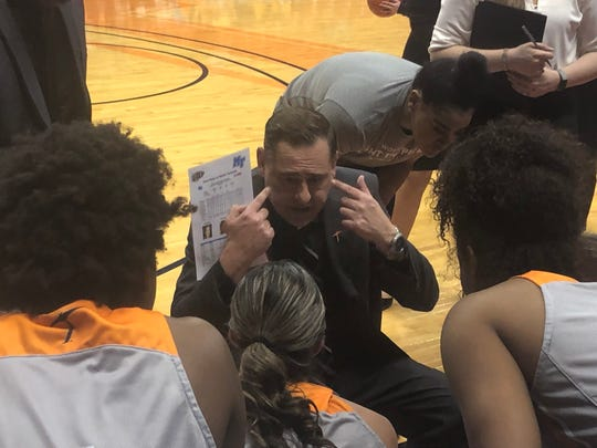 UTEP coach Kevin Baker instructs his team during Saturday's game against Middle Tennessee