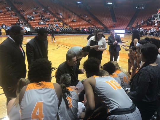 Kevin Baker instructs his team during Saturday's game against Middle Tennessee