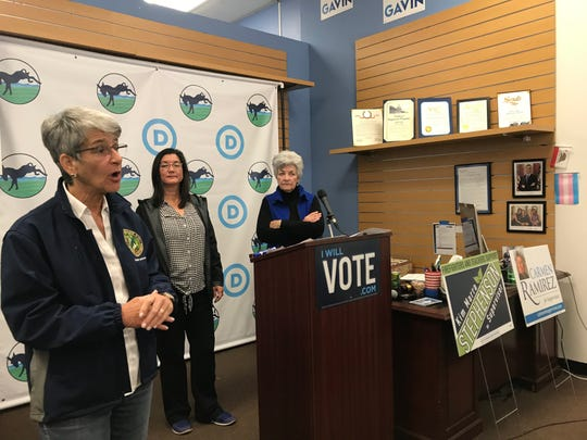 State Sen. Hannah-Beth Jackson, left, speaks at a news conference and political gathering to support Ventura County Board of Supervisors candidates Kim Marra Stephenson, center, and Carmen Ramirez, right.