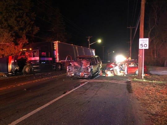 Three people were reported injured in a three-vehicle crash along Delsea Drive, near Regina Elena Avenue, in Vineland, according to preliminary reports. Feb. 21, 2020.