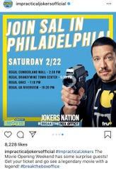 Sal Vulcano from the TV show Impractical Jokers will appear at the Cumberland Mall Regal theater on Saturday.