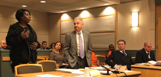 The sentencing hearing Friday for former Millville police Officer Jeffrey E. Profitt (right) included testimony from the daughter (left) of the man he admits to assaulting. Next to her is Cumberland County First Assistant Prosecutor Harold B. Shapiro. Next to Profitt is defense attorney Michael L. Testa Sr.
