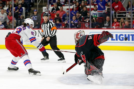 New York Rangers center Mika Zibanejad (93), of Sweden, shoots and scores against Carolina Hurricanes goaltender Petr Mrazek (34), of the Czech Republic, during the first period of an NHL hockey game in Raleigh, N.C., Friday, Feb. 21, 2020.