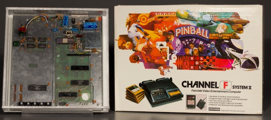 The Fairchild Camera and Instrument Corp.'s Channel F home video game system, the first to use interchangeable game cartridges, on display at The Strong Museum.