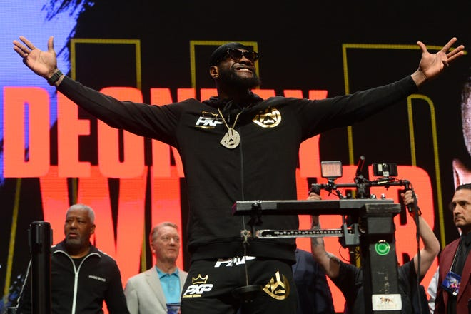 Deontay Wilder at Friday weigh-ins for his bout against Tyson Fury.
