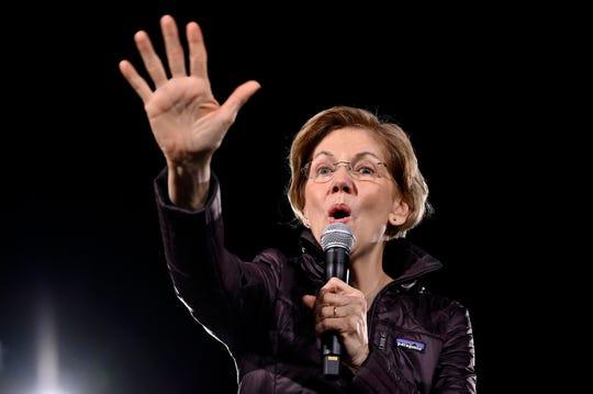 Sen. Elizabeth Warren, D-Mass., campaigns in Las Vegas on Friday.