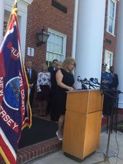 Then-Burlington County Freeholder Director Kate Gibbs addresses reporters at a news conference in Mount Holly in 2018.