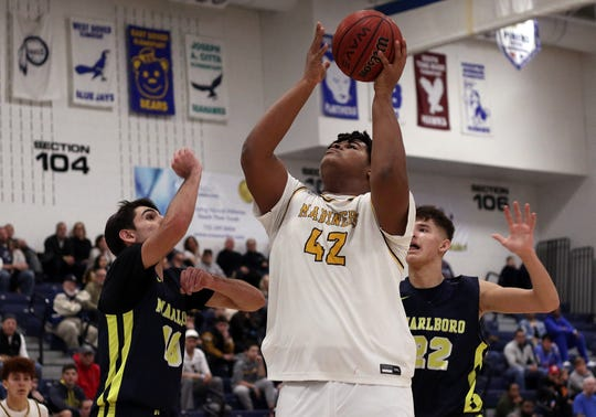 Toms River North's Najae Hallenbeck shoots the ball during a 2020 Shore Conference Tournament quarterfinal basketball game between Toms River North and Marlboro.  Toms River, New Jersey. Sunday, February 23, 2020. David Gard /Correspondent