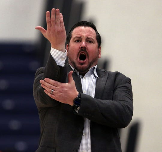 Toms River North's head coach Rory Caswell looks for a foul during a 2020 Shore Conference Tournament quarterfinal basketball game between Toms River North and Marlboro. Toms River, New Jersey. Sunday, February 23, 2020. David Gard /Correspondent