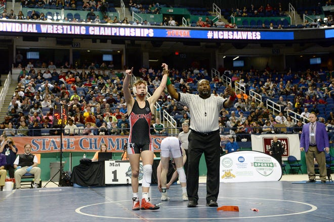 Avery CountyÕs Ethan Shell wins the 1A 120-pound state title match at the NCHSAA state championship wrestling tournament at the Greensboro Coliseum in Greensboro on Feb. 22, 2020.