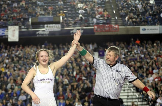 North Kitsap's Holly Beaudoin won the 120-pound girls state wrestling title at Mat Classic on Saturday at the Tacoma Dome.