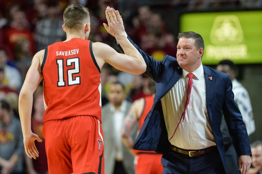 Feb 22, 2020; Ames, Iowa, USA; Texas Tech Red Raiders head coach Chris Beard reacts with forward Andrei Savrasov (12) during the first half at Hilton Coliseum. Mandatory Credit: Jeffrey Becker-USA TODAY Sports