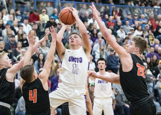 Unioto's Isaac Little shoots a shot during a 38-34 loss to Waverly in a Division II Sectional Final on Saturday Feb. 22, 2020 at Southeastern High School in Chillicothe, Ohio.