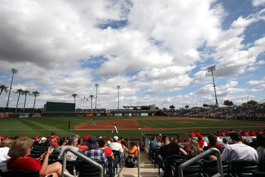 General view of Goodyear Ballpark in the fourth inning during a Cactus League spring training baseball game between the Chicago White Sox and the Cincinnati Reds, Sunday, Feb. 23, 2020, in Goodyear, Ariz.