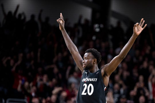 Cincinnati Bearcats forward Mamoudou Diarra (20) celebrates after hitting a 3-pointer in the second half of the NCAA men's basketball game on Sunday, Feb. 23, 2020, in Fifth Third Arena at the University of Cincinnati. Cincinnati Bearcats defeated Wichita State Shockers 67-64.