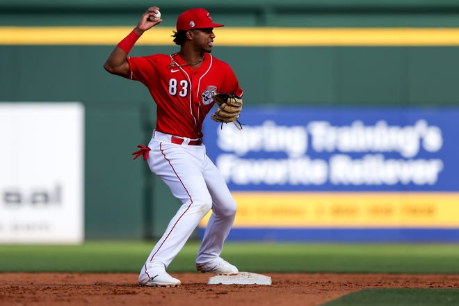 Cincinnati Reds shortstop Jose Garcia (83) throws to first base after recording an out at second base in the eighth inning during a Cactus League spring training baseball game against the Chicago White Sox, Sunday, Feb. 23, 2020, at Goodyear Ballpark in Goodyear, Ariz.