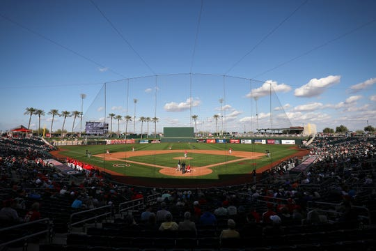 General view of Goodyear Ballpark in the eighth inning during a Cactus League spring training baseball game between the Cincinnati Reds and the Chicago White Sox, Sunday, Feb. 23, 2020, in Goodyear, Ariz.