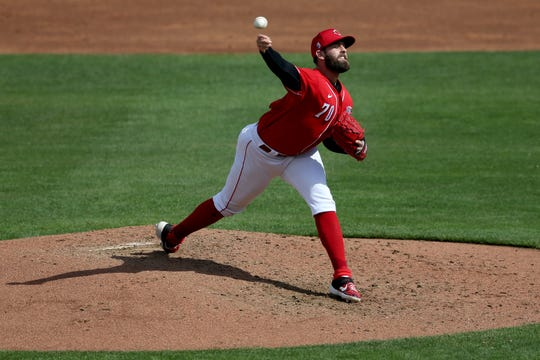 Cincinnati Reds starting pitcher Tejay Antone (70) delivers in the third inning during a Cactus League spring training baseball game against the Chicago White Sox, Sunday, Feb. 23, 2020, at Goodyear Ballpark in Goodyear, Ariz.