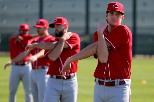 Cincinnati Reds non-roster invitee pitcher Nick Lodolo (86) stretches during spring practice, Saturday, Feb. 15, 2020, at the Cincinnati Reds Spring Training Facility in Goodyear, Arizona.