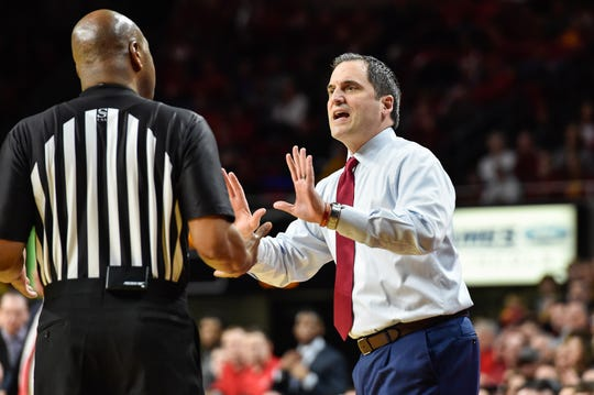 Feb 22, 2020; Ames, Iowa, USA; Iowa State Cyclones head coach Steve Prohm reacts with an official during the first half against the Texas Tech Red Raiders at Hilton Coliseum. Mandatory Credit: Jeffrey Becker-USA TODAY Sports