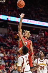 Feb 22, 2020; Ames, Iowa, USA; Texas Tech Red Raiders guard Jahmi'us Ramsey (3) shoots the ball over Iowa State Cyclones guard Prentiss Nixon (11) as guard Terrence Lewis (24) looks on during the first half at Hilton Coliseum. Mandatory Credit: Jeffrey Becker-USA TODAY Sports