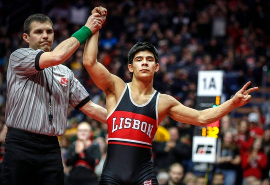 Lisbon sophomore Robert Avila Jr. pinned Marysville-St. Mary's senior Cole Cassady at 132 pounds en route to his second state title during the 2020 Iowa high school state wrestling tournament finals at Wells Fargo Arena in Des Moines on Saturday, Feb. 22, 2020.